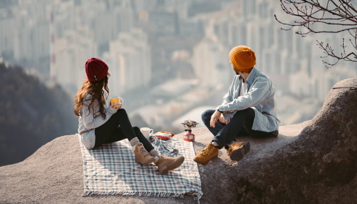 couple on a date with views